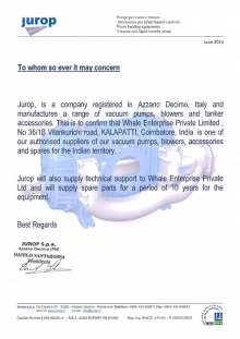Jurop Distribution Letter