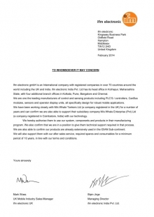IFM Distribution Letter