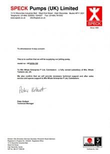 Speck Pumps Distribution Letter